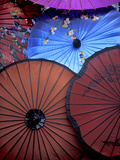 Souvenir Parasols for Sale at a Market, Rangoon, Burma Photographie par Brian McGilloway