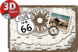 Route 66 Kompass Emaille bord