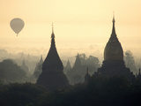 Hot Air Balloon over the Temple Complex of Pagan at Dawn, Burma Photographic Print by Brian McGilloway