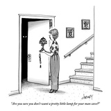 """Are you sure you don't want a pretty little lamp for your man cave?"" - New Yorker Cartoon Premium Giclee Print by Tom Cheney"