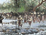 Explorers Crossing a Stream in the Mountains, Nienieya, Sudan, Colored Engraving of 1892 Photographie par Prisma Archivo