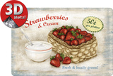 Strawberries &amp; Cream Plaque en m&#233;tal
