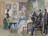 Meeting of Aristocratic Families in the Living Room. Colored Engraving by George Scott, 1892 Photographic Print by  Prisma Archivo