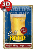 Cold Beer Tin Sign