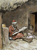 An Old Man Teach to Write a Child, French Sudan, 1893 Fotografisk tryk af Prisma Archivo