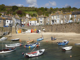 Boats in Mousehole Harbour, Near Penzance, Cornwall, England Photographic Print by David Wall
