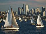 Sailboats Race on Lake Union under City Skyline, Seattle, Washington, Usa Photographic Print by Charles Crust