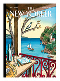 Drawing While Waiting - The New Yorker Cover, April 18, 2011 Regular Giclee Print by Jacques de Loustal