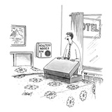 A man unpacks his suitcase in a motel. On the wall, a vending machine with… - New Yorker Cartoon Premium Giclee Print by Tom Cheney