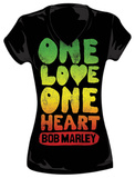 Juniors: V-Neck - Bob Marley - One Love One Heart T Shirts