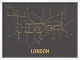 London (Dark Gray & Mustard) Print by  Line Posters