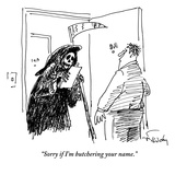 The Grim Reaper stands in the doorway of a man's apartment holding a clipb… - New Yorker Cartoon Premium Giclee Print by Mike Twohy