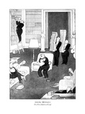 Man with books all over the room has put his guests to sleep by reading fr… - New Yorker Cartoon Premium Giclee Print by Rea Irvin