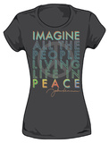 Juniors: John Lennon - Living in Peace Ladies Shirt