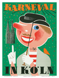 Karneval In Koln: Germany c.1950 Poster by Anton Wolff