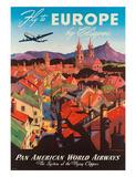 M. Von Arenburg - Pan American: Fly to Europe by Clipper, c.1940s Digitálně vytištěná reprodukce