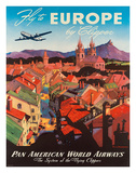 Pan American: Fly to Europe by Clipper, c.1940s Giclée-Druck von M. Von Arenburg