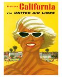 Fly United Air Lines: Southern California, c.1955 ジクレープリント : スタン・ガリ