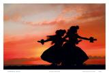 Hula Sisters: Hawaiian Hula Dancers at Sunset Prints by Randy Jay Braun