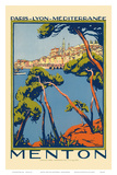 Menton, Paris - Lyon - Méditerrenée: France Railway Company, c.1920s Prints by Roger Broders
