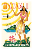United Air Lines: Hawaii - Only Hours Away, c.1950s Poster