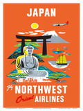 Fly Northwest Orient Airlines: Japan, c.1950s Poster
