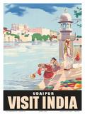 Lake Udaipur: Visit India, c.1957 Poster