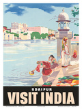 Lake Udaipur: Visit India, c.1957 Poster