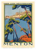 Menton, Pariisi, Lyon, Välimeri, Ranskan rautatieyhtiö, 1920-luku Julisteet tekijänä Roger Broders
