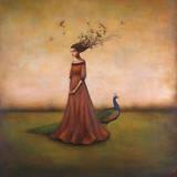 Empty Nest Invocation - L'invocation du nid abandonné : femme au paon Affiches par Duy Huynh