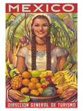 Direccion General de Turismo: Mexico - Plenty of Fruit Poster von Jorge González Camarena