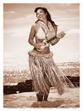 Wahine with Ukulele: Hawaiian Hula Girl Affiches par Celeste Manderville