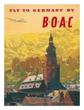British Overseas Airways Corporation: Fly to Germany by BOAC, c.1950s Giclée-tryk af Frank Wootton