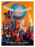 Pan American: Round the World by Clipper, c.1949 Kunstdrucke von M. Von Arenburg