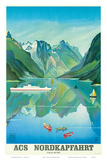 HAPAG Cruise Line: Nordkapfahrt - North Cape and Norwegian Fjords, c.1957 Print