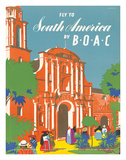 British Overseas Airways Corporation: Fly to South America by BOAC, c.1950s Giclee Print by E.O. Seymour