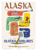 Alaska Airlines: Alaska - Golden Nugget Service, c.1950s Prints