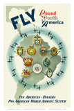 Pan American: Fly Round South America, c.1950s Prints by Constantin Alajalov
