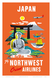 Fly Northwest Orient Airlines: Japan, c.1950s Prints
