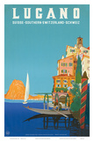 Swiss Italian Resort, Lugano, Switzerland c.1958 Kunstdrucke von Leopoldo Metlicovitz