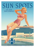 Santa Fe Railroad: Sun Spots in the Southwest, c.1950s Poster