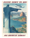 Pan American: Flying Down to Rio, c.1930s Giclée-tryk af Paul George Lawler