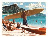 Waikiki Beach, Honolulu, Hawaii, c.1950s Giclee Print by Fred Ludekens