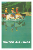 United Air Lines: Horse Back Riders, c.1960s Prints by Stan Galli