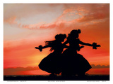 Hula Sisters: Hawaiian Hula Dancers at Sunset Poster by Randy Jay Braun
