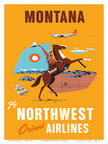 Fly Northwest Orient Airlines: Montana, c.1950s Prints