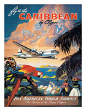 Pan American: Fly to the Caribbean by Clipper, c.1940s Wydruk giclee autor M. Von Arenburg