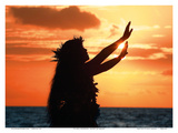 To Ask a Blessing: Hawaiian Hula Dancer at Sunset Poster von Randy Jay Braun