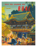 British Overseas Airways Corporation: Fly to Japan by BOAC, c.1950s Giclée-tryk af Frank Wootton