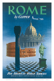 Pan American: Rome by Clipper - Vatican and Coliseum, c.1951 Affiches